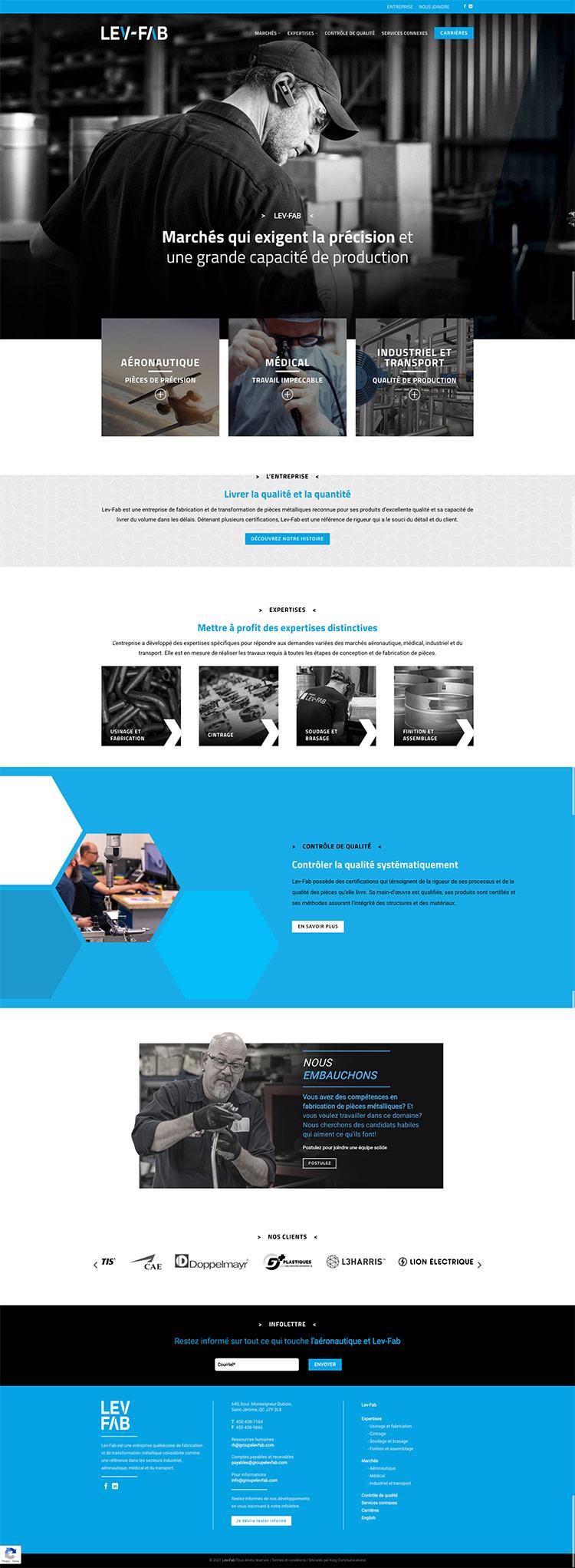 King Communications | Réalisations | Lev-FAB | Web accueil