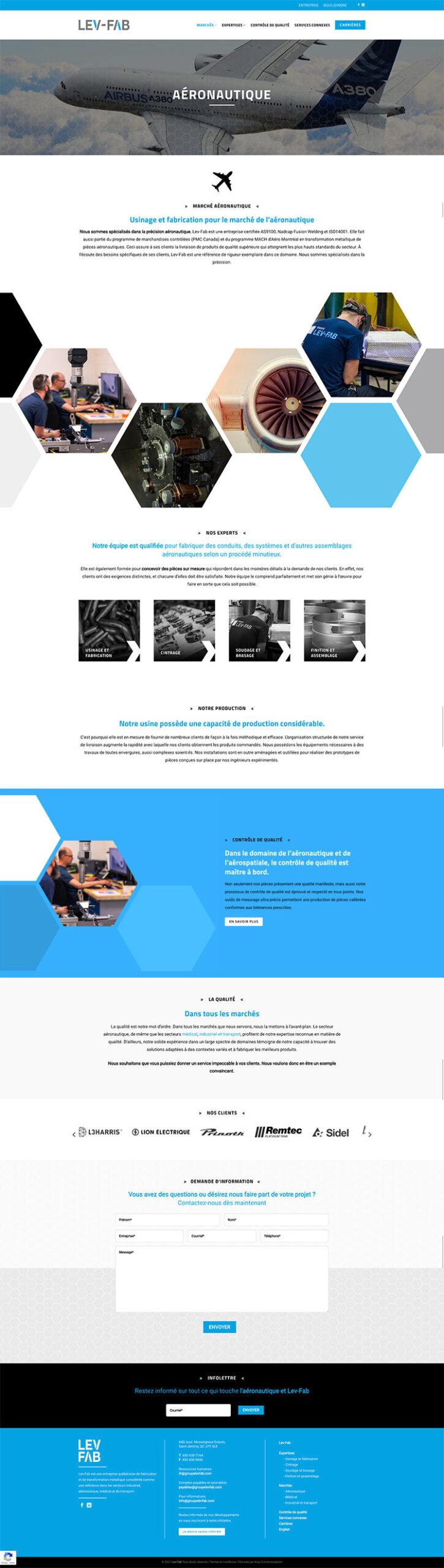 King Communications | Réalisations | Lev-FAB | Web marchés